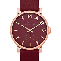 Marc by Marc Jacobs Watch, Women's Baker Deep Maroon Leather Strap 37mm MBM1267