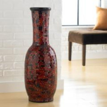Joseph Allen Aged Copper Mosaic Decorative Vase