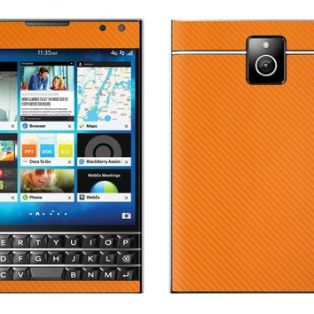 Decalrus - Blackberry Passport ORANGE Carbon Fiber skin skins decal for case cover wrap CFpassportOrange