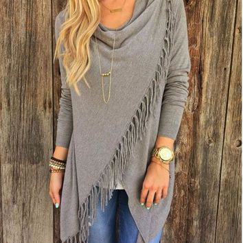 Tassel Solid Color Irregular Asymmetric Fringe Shawl