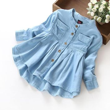 Denim Casual Soft Button Down Shirtdress