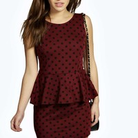 Petite Rosanna Polka Dot Peplum Dress