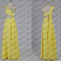 2014 Party prom gowns yellow wirh beading top and shawl long chiffon Dresses