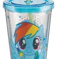 Vandor 42114 My Little Pony Rainbow Dash 18 oz Acrylic Travel Cup with Lid and Straw, Multicolor