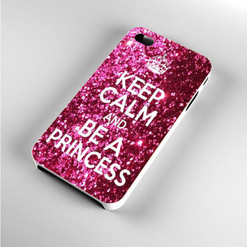 Keep Calm and Be a Princess Glitter iPhone 4s Case