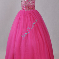 Cute Hot Pink Stunning Crystal Beaded Flower Girl Dresses,Ball Grown Tulle Organza Girl's Pageant Dresses,Children's Party Dresses