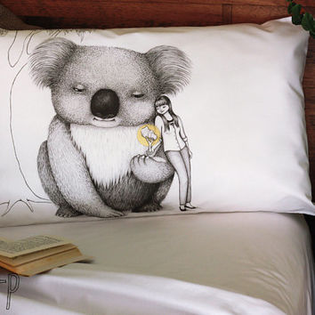 Giant Koala pillowcase, facing right. Australian animal cotton sham, white printed pillowslip. Australian gift with original art by flossy-p