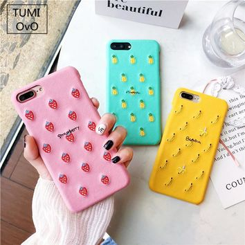 Embroidery Fruit Hard PC Protect Case For iPhone 6 6s 7 Plus Bakc Phone Cover For iPhone 8 Plus Half Cover Striae Cute Candy