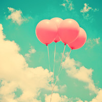 Balloons in the sky (pink ballons in retro blue sky) Stretched Canvas by AC Photography