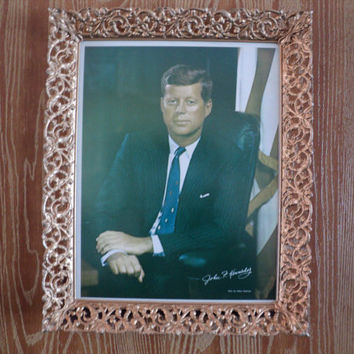President John F Kennedy Portrait Original Frame 1960's JFK Photo by Fabian Bachrach Wall or Tabletop Retro Metal Filagree Frame