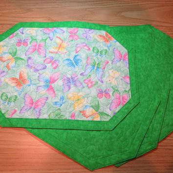 Quilted Reversible Placemat  6 set - Butterfly Sparkle Green  -  156