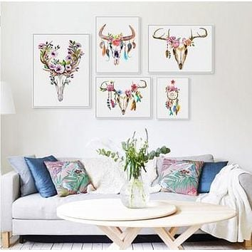 Vintage Retro Animal Deer Head Skull Feather Dream Catcher  Art Prints Posters Wall Picture Canvas Painting Living Room Decor
