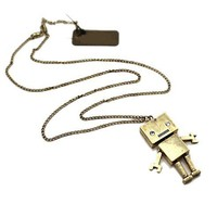 Long Tarnished Necklace with Robot Charm