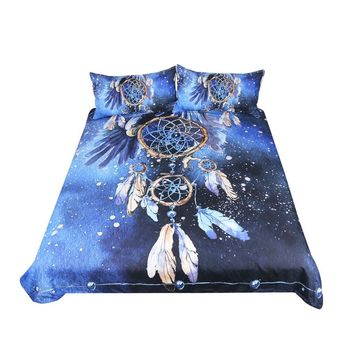 Dream Catcher Bedding Set Queen Size Feathers Blue Printed Duvet Cover Sold By GO FIND YOURSELF