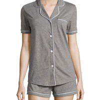 Bella Two-Piece Short Pajama Set, Heather Gray, Size: