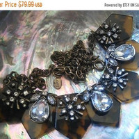 ON SALE Vintage Signed Rhinestone Necklace Faux Tortoise Shell Jewelry 1980's 1990's Rare Hard To Find Ann Loft