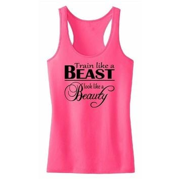 Train Like A Beast Tank Top Women Printed Sleeveless Tops T-Shirts WorkOut Sport Exercise Fitness Lady Vest Yoga GYM Clothing