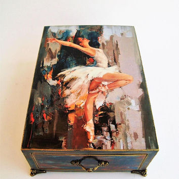Jewelry Box, Wooden drawer, Ballet Dance, Box for ballerina, Ballerinas Gift girl, Accessories box, Ballerina jewelery, Ballerina storage