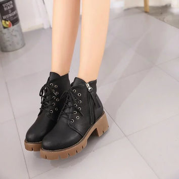 Punk womens gothic Lace Up Square Heel platform Creeper round toe Zip Side Ankle Boots shoes Black Brown