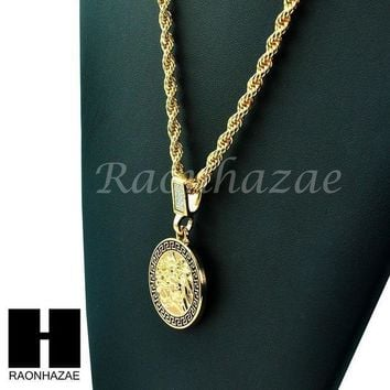 Mens 14k Gold Plated Pattern Medusa Round Pendant 24' Rope Necklace Chain Kn029