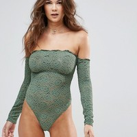 ASOS Lex Premium Lace Long Sleeve Off Shoulder Body at asos.com