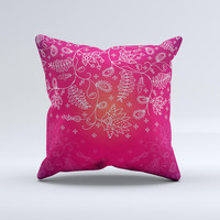 Glowing Pink White Lace Ink-Fuzed Decorative Throw Pillow