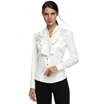 Women Fashion Slim V Neck Button Down Long Sleeve Bow Solid Wear To Work Shirt