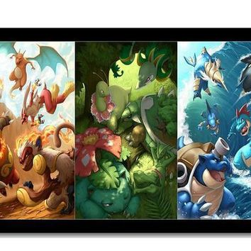 Canvas Poster Silk Fabric 15 New  HD cartoon Poster Customized  Room  Posters As GiftKawaii Pokemon go  AT_89_9