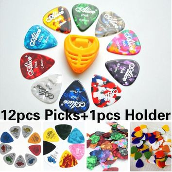 12Pcs Guitar Picks+1pcs Picks Holder Acoustic Electric Guitar Plectrum Guitar Accessories different designs and thickness YYY