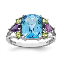 Sterling Silver Ant. Cushion Swiss Blue Topaz, Amethyst & Peridot Ring