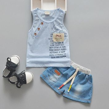 2018 New Summer Baby Boy Tank Top + Shorts Summer Set