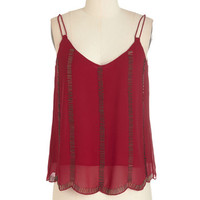 ModCloth Vintage Inspired Mid-length Sleeveless Deco the Distance Top in Ruby