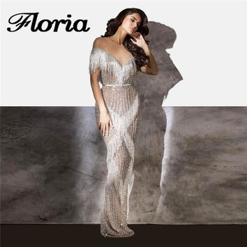 Shiny Tassel Evening Dresses 2018 Aibye Muslim Formal Long Mermaid Party Dress Turkish Sequins Pageant Prom Gowns Robe de soiree