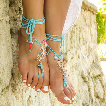 Barefoot Sandals Beach Wedding Turquoise Bottomless W