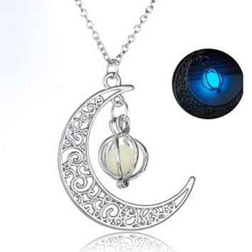 Glow In The Dark Luminous Silver Plated Moon Pendant