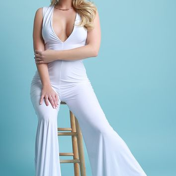 Sleeveless Plunging Neck Wide Leg Jumpsuit