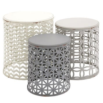 The Toned Down Set Of 3 Metal Wood Accent Table