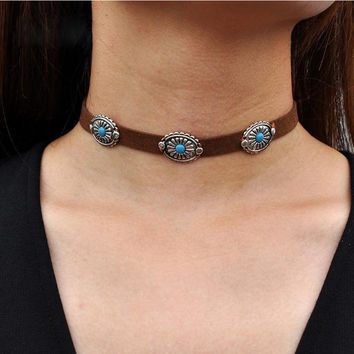 Boho Charm Women Velvet Leather Choker Turquoise Pendant Necklace+ Christmas Gift Box