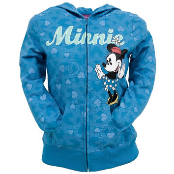 Minnie Mouse - All-Over Hearts Girls Blue Youth Zip Hoodie