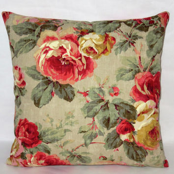 "Khaki & Coral Floral Pillow, Vintage Roses, 17"" Sq, Distressed Sage Gold Pink Red Green Peach, Zipper Cover Only or Insert Incl, Ready Ship"