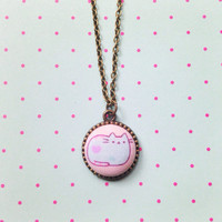 Handmade Pusheen the Cat Necklace Mint Green and Pink - Cat Lovers kawaii Jewelry