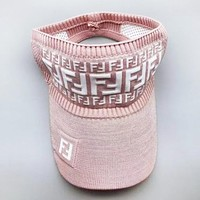 Fendi Fashion New More Letter Women Men Hollow Sunscreen Cap Hat Pink