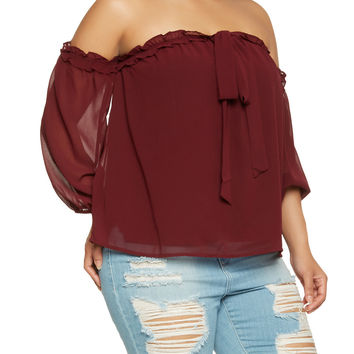 Plus Size Ruffle Trim Off the Shoulder Top