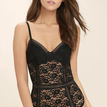 Lady Marmalade Black Lace Bodysuit