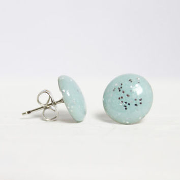 Light Blue Glitter Earrings, Stud Earrings, Hypoallergenic Jewelry, Gifts For Her