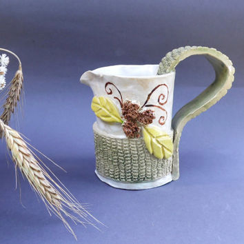 Country kitchen cream pitcher Rustic ceramic pitcher Floral pottery