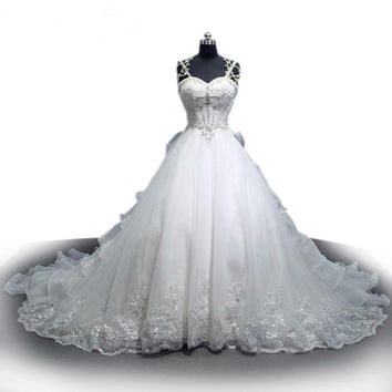 Sweetheart Crystal Pearl Luxury Wedding Dress Custom Made White Lace Ball Gown Bridal Dress