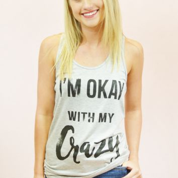 okay with my crazy graphic tank - grey