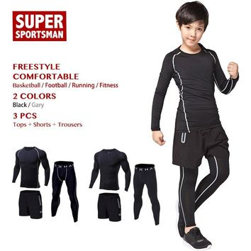 Children Sport Running Tracksuit Kids Gym Clothing Men Workout Fitness Boys Training Clothes Sportswear Jogging Tights Suits Set