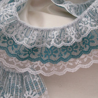 Gathered Triple Ruffled Lace, White and Teal Lace, Apparel, Doll Clothes, Costumes, Decorative Lace Trim, Lace for Journals, Crafting Lace